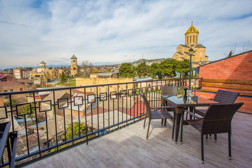 You can enjoy wine and amazing views on old Tbilisi