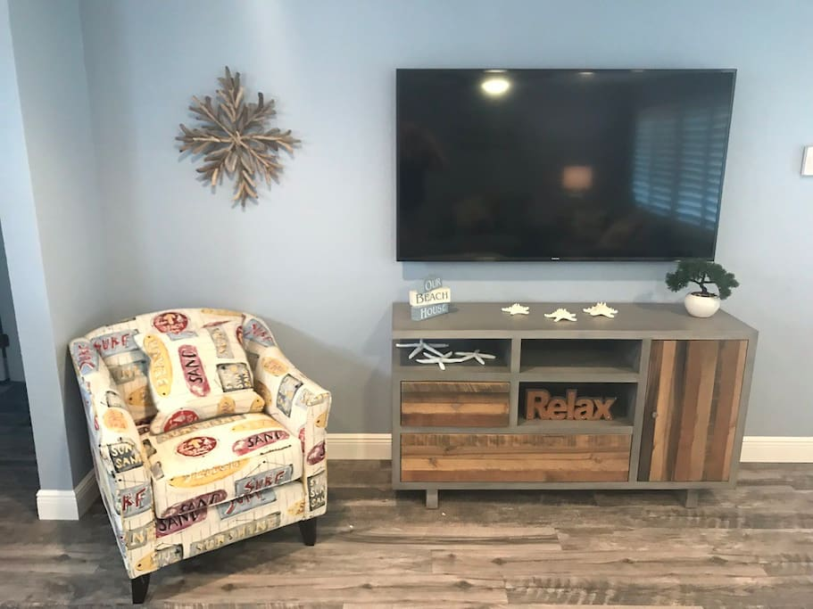 Big screen TV with cable and bluetooth connection