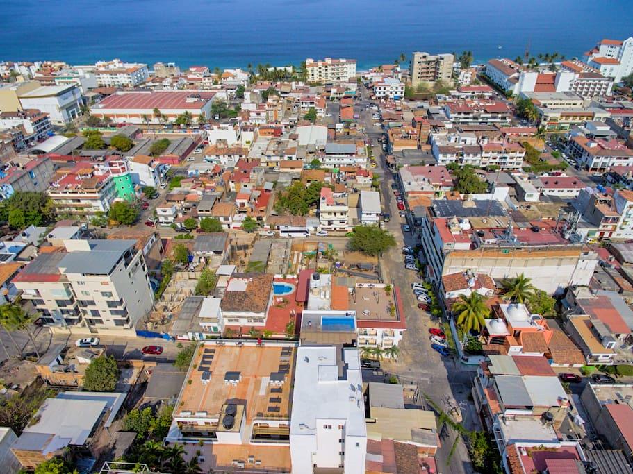 vista de ubicación de edificio a 4 cuadras de la playa