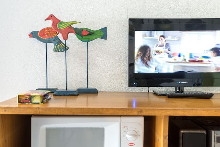 A tv to entertain during the quiet moments