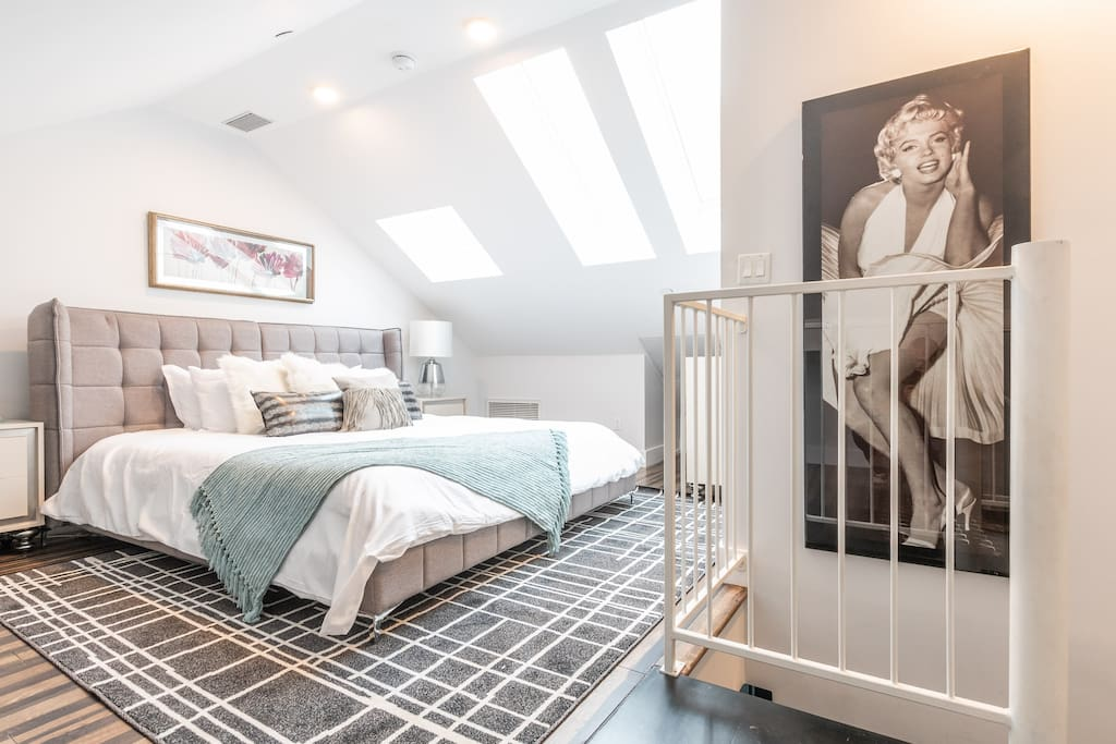 Private master bedroom with California King and amazing overhead sunlight exposure