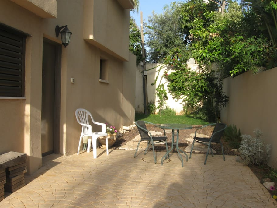 Private entrance and small terrasse.  Optional parking near door