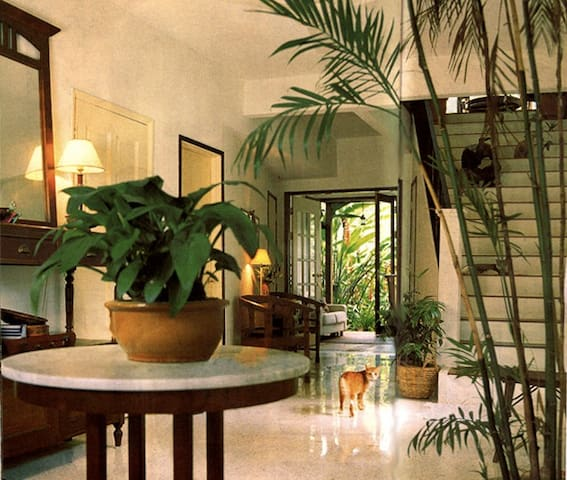 Bright, airy entrance hall. Tall glass windows & doors give home a peaceful, natural, outdoor feel.