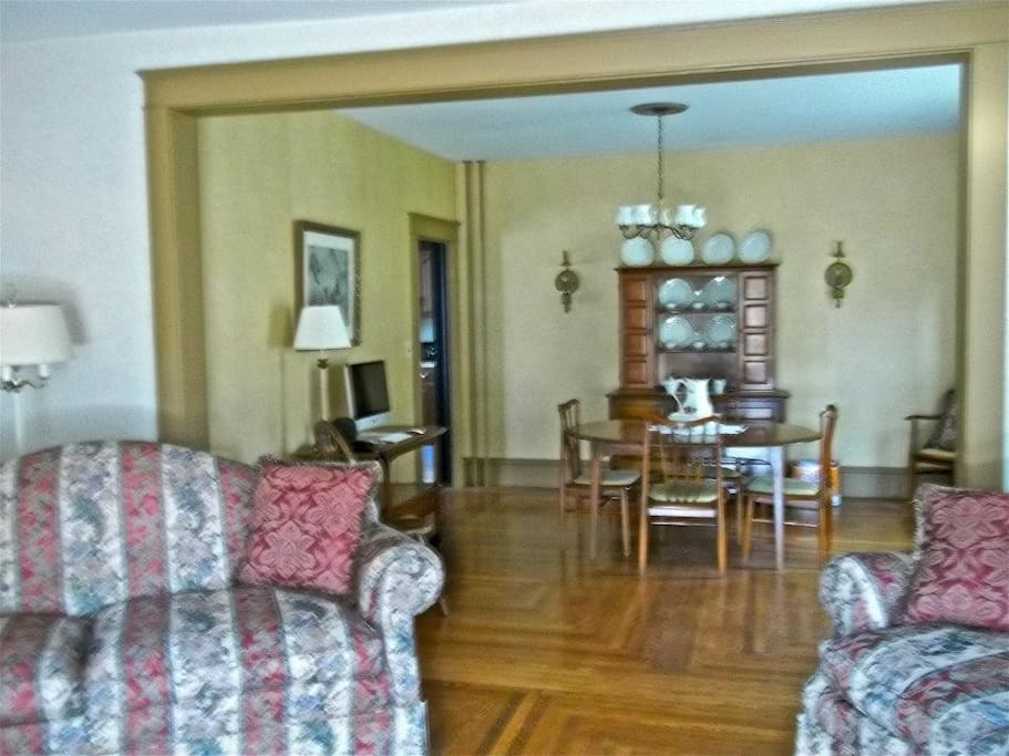 A view of the formal dining room from the living room.