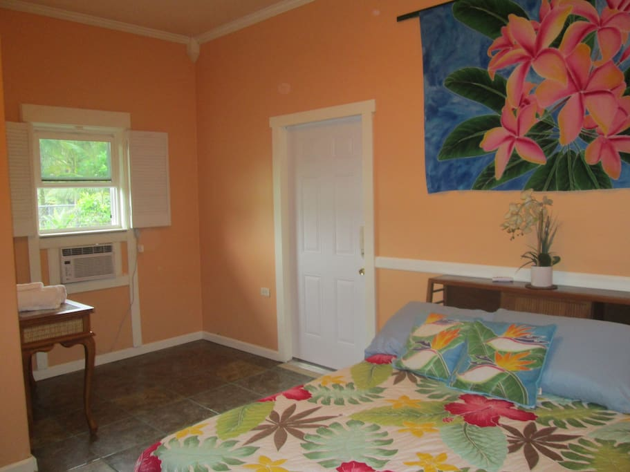 Plumeria Room with King size bed and air conditioned