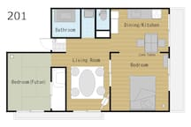 Room Floor Plans. Total 60square meters. お部屋の間取りです、全体で60㎡あります。
