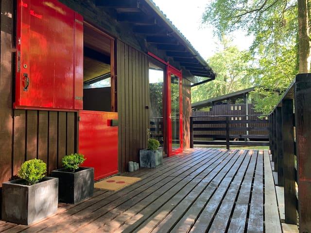 Peaceful Scandi Retro Woodland Cabin Dogs & Pool