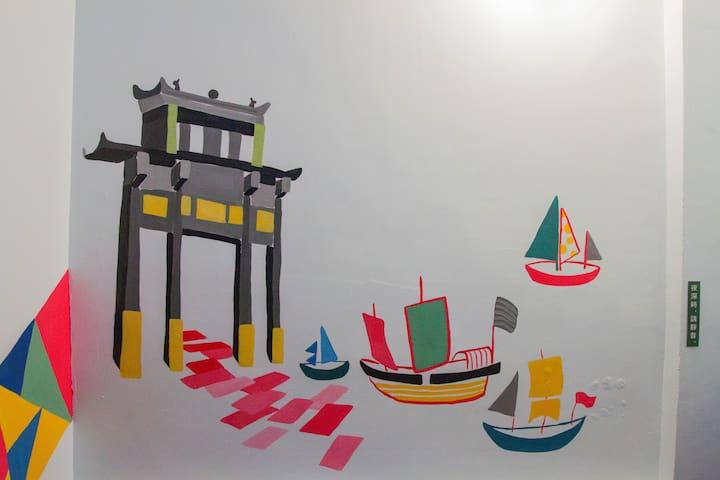 牆面彩繪風神廟&帆船 Wall Painting