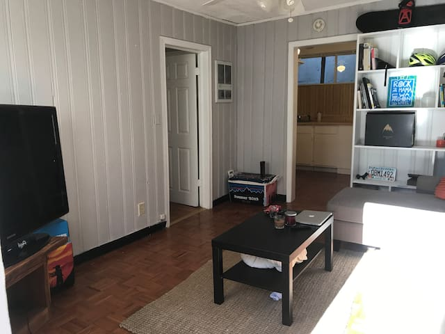 """Living room with small sectional couch and 55"""" flat screen (HDMI but no cable/WiFi)"""