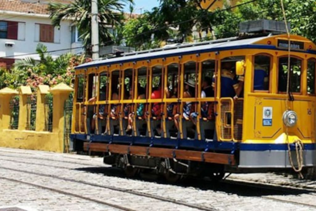 The Santa Teresa Tram is a historic tram line in Rio de Janeiro.  Tram stop in front of the building