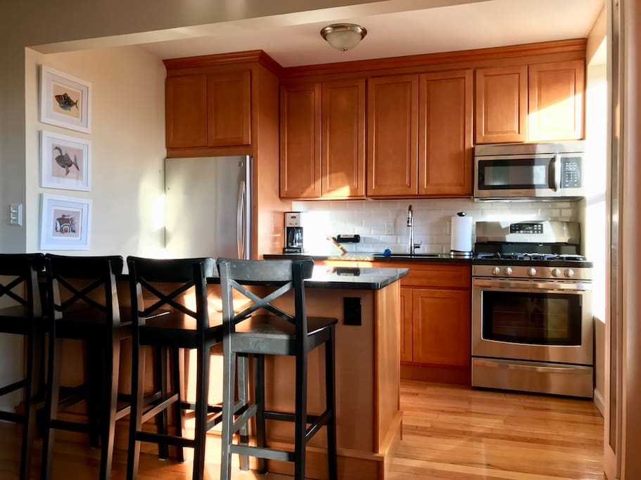 Stainless steel appliances with refrigerator with a bottom freezer, so no reaching down for  the vegetables trays.