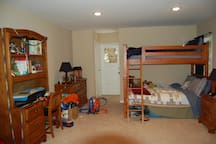 Large Bedroom with Twin over Full Bunk Bed and attached bath