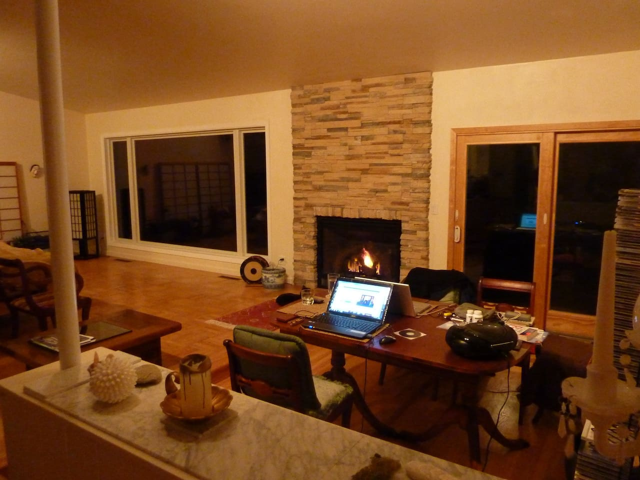 Spacious Remodeled Living Room with Electric Gas Fireplace.