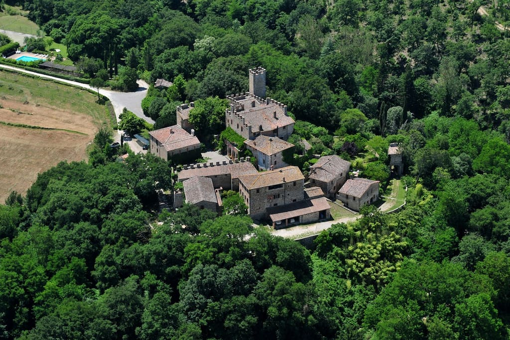Aerial view of Montalto Castle with its little hamlet