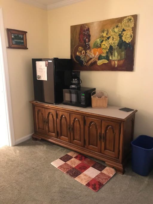Mini fridge, microwave and coffee maker, filters provided.