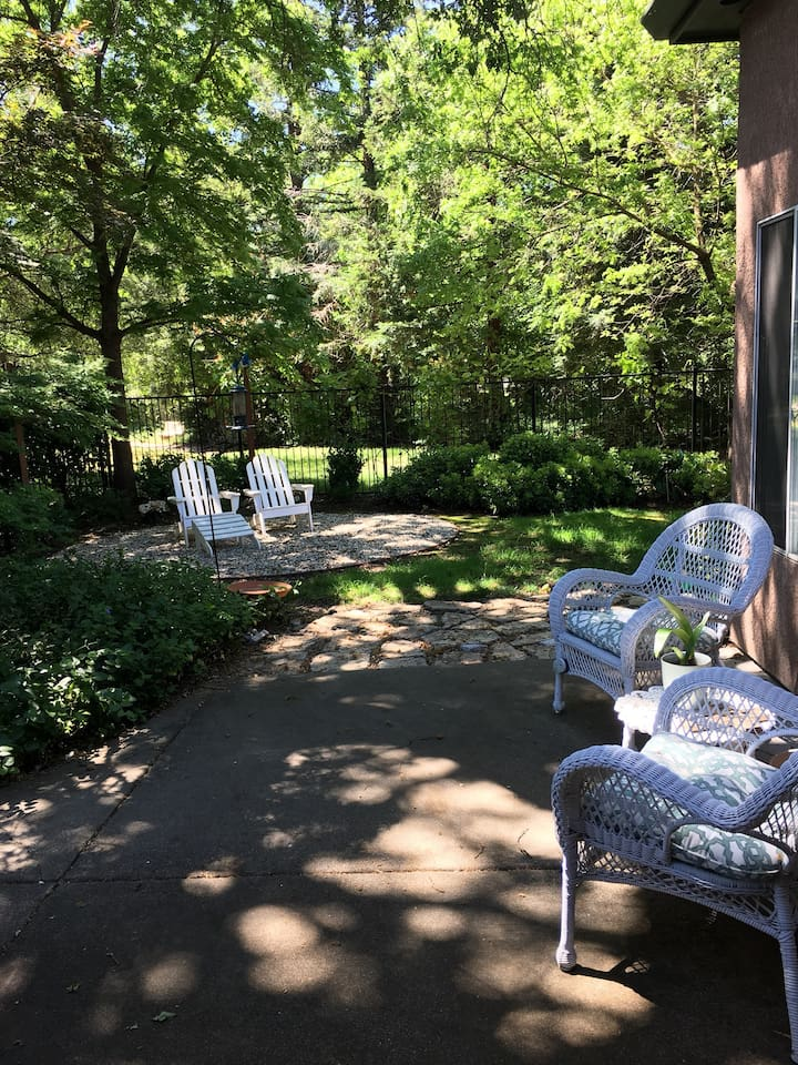 Our shady patio is available for your morning coffee or just sitting anytime you'd like.