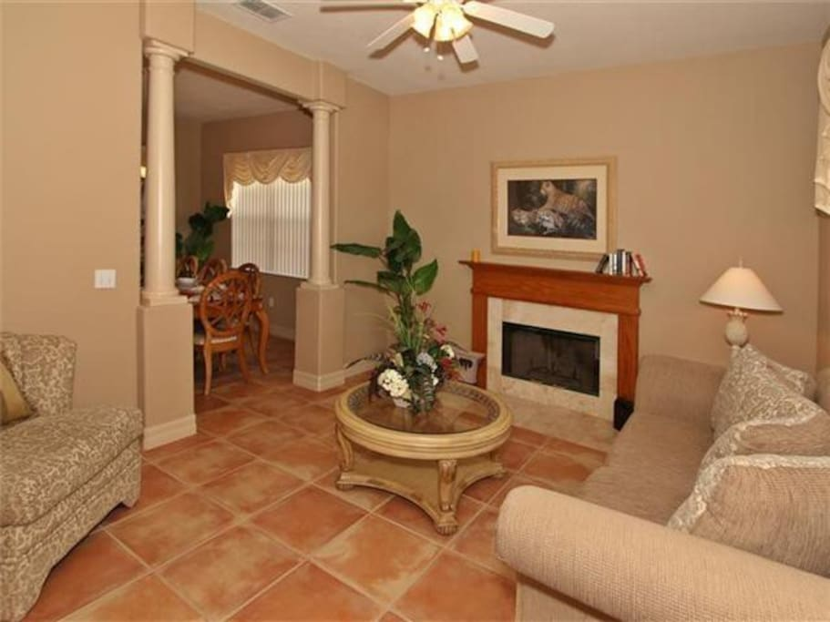 Sitting Room area in Front of House with Fireplace