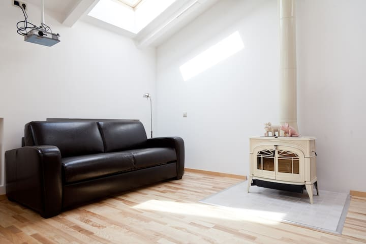 Loft with a Fireplace: Central Area
