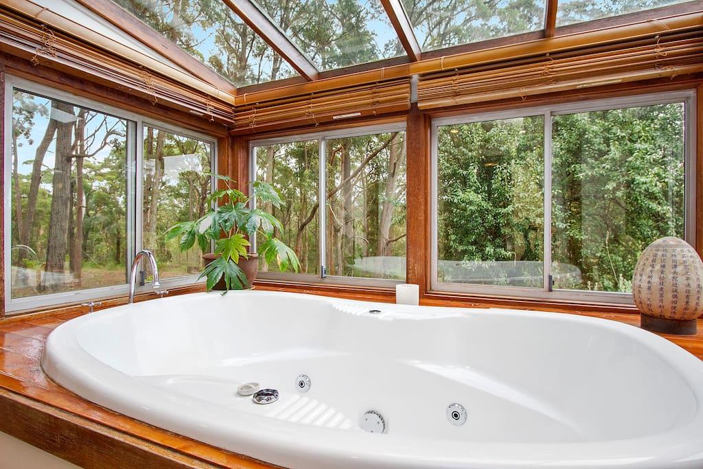 Spa bath with garden view