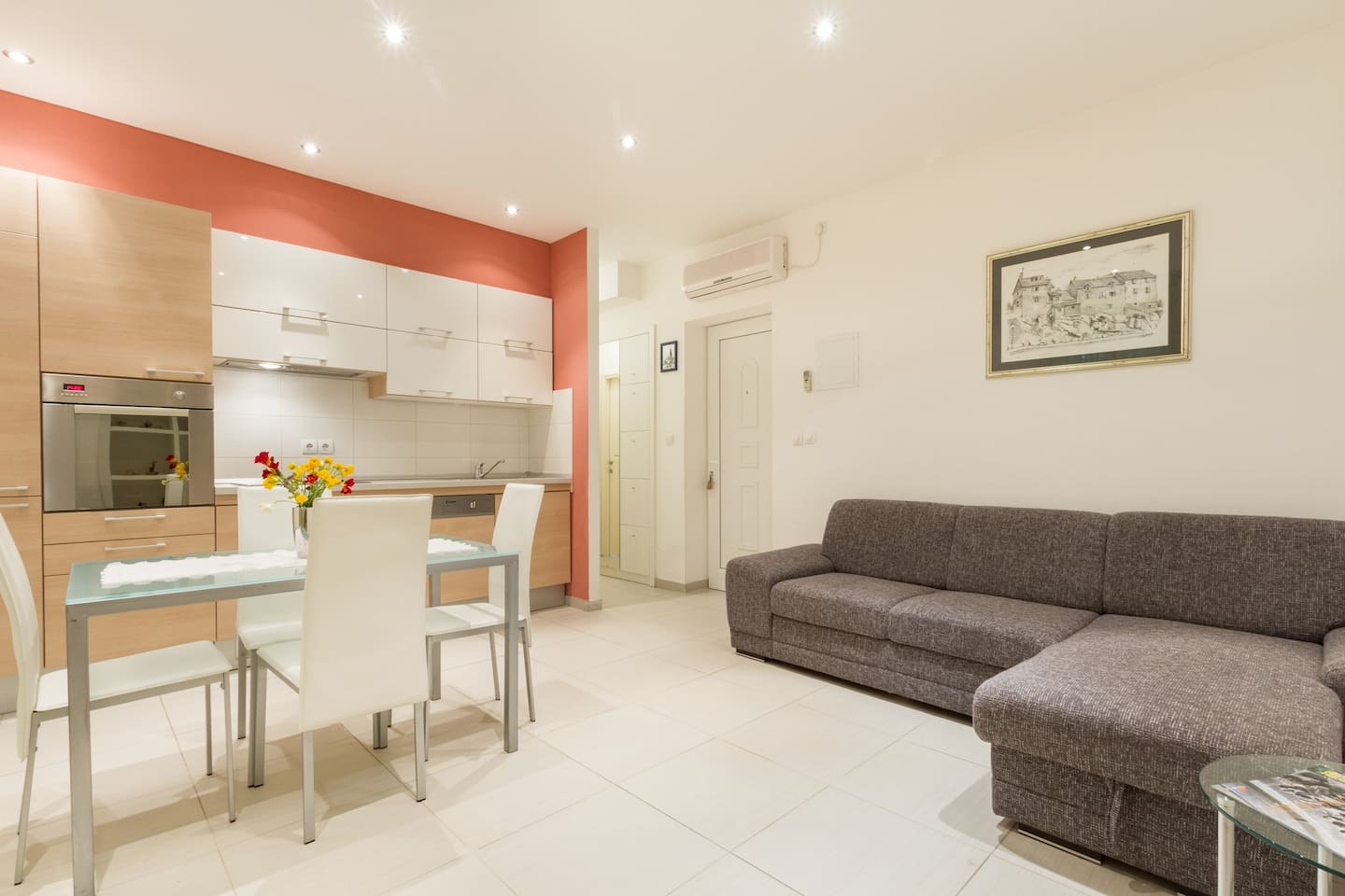 """Living room and kitchen                   Apartment Angel, Split, Croatia """"Fantastic apartment! Great location, just outside east gate, you can walk to everything near Diocletian Palace area. Apartment is super clean and great host."""""""