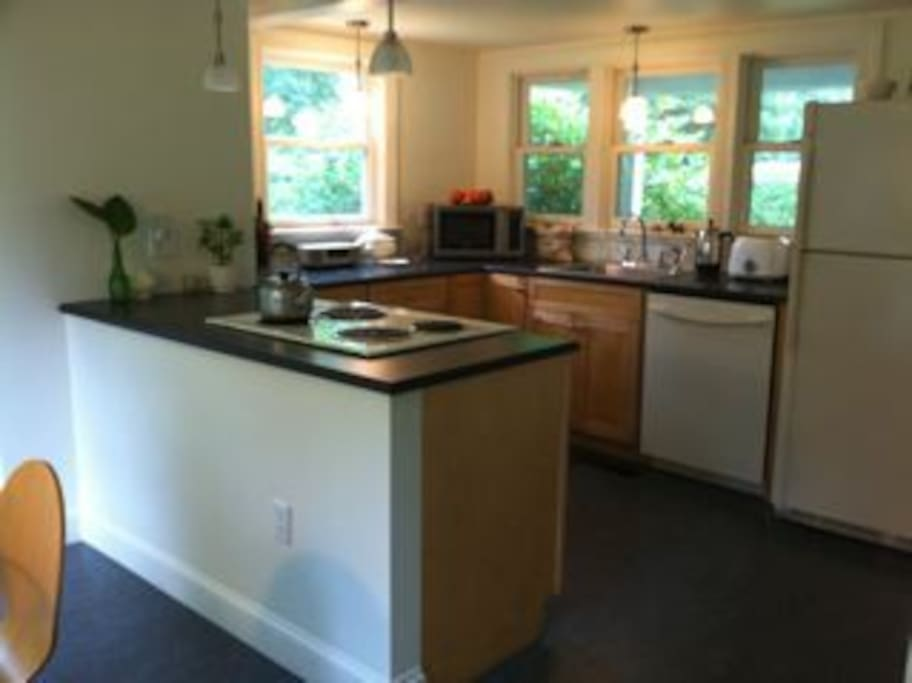 Renovated kitchen with all you need. Outdoor gas grill as well