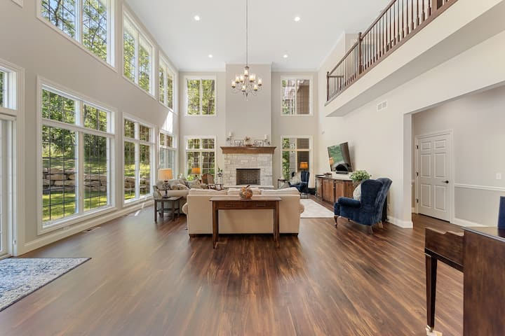 7500 sq ft home on private multi-acre wooded lot