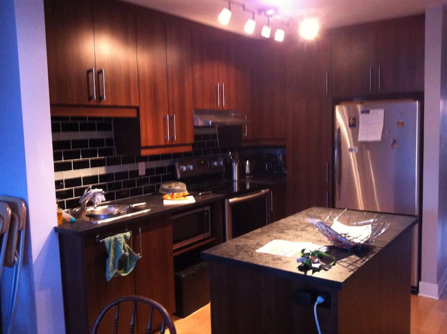 Kitchen. Fully furnished. Stove, oven, microwave, refrigerator, knives, dishes, etc.