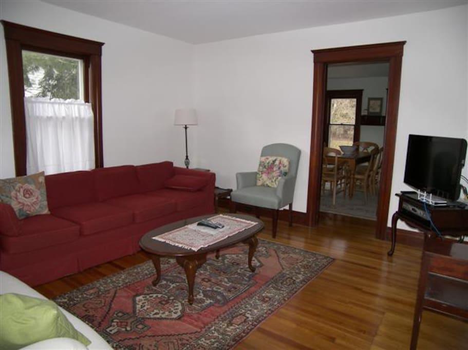 Living room, off porch; dining room through door