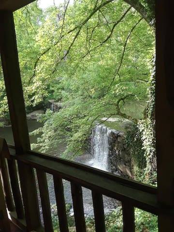 The Boones Mill Dam and waterfall from the porch