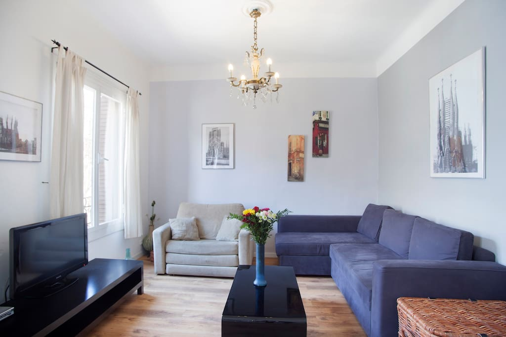 Lounge area with  satellite TV and double sofa bed (sleeps 2)