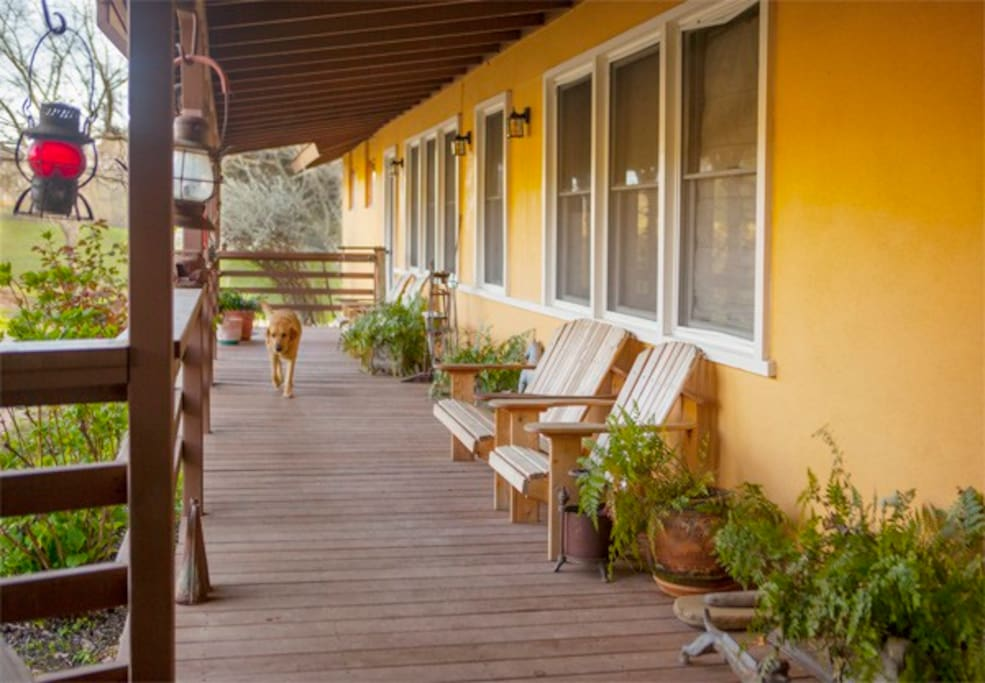 The front deck of the guesthouse.
