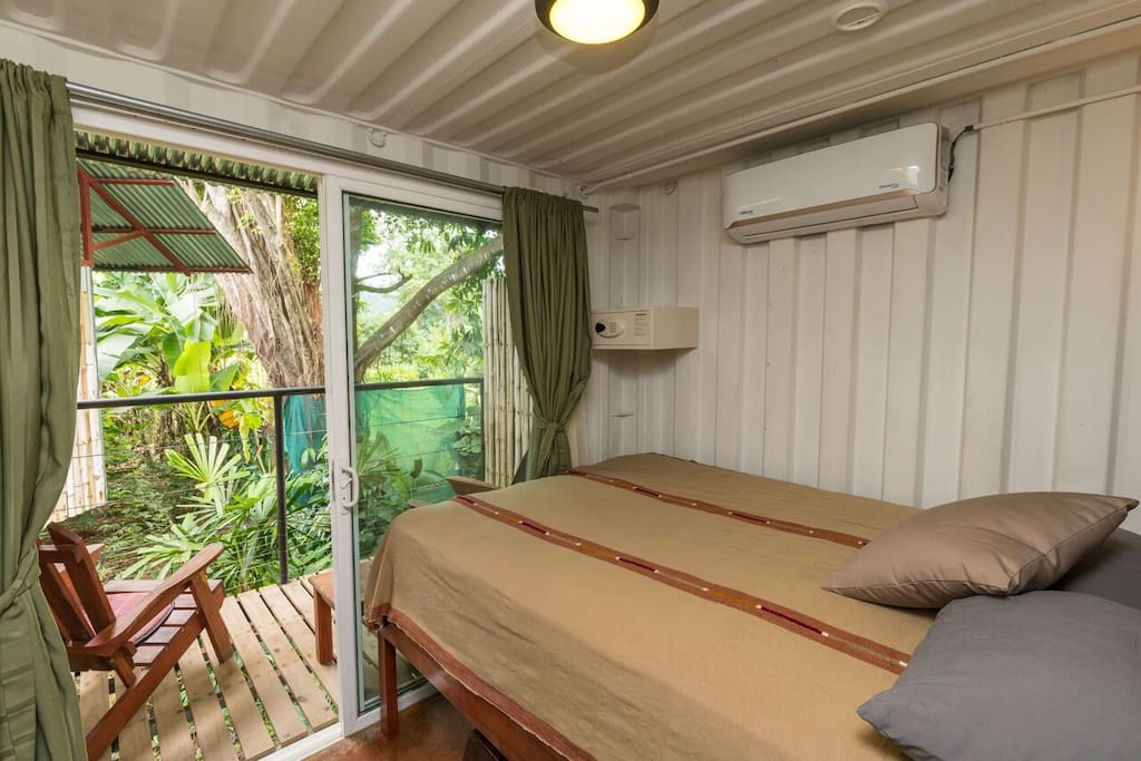 Comfy Queen size bed with private deck.