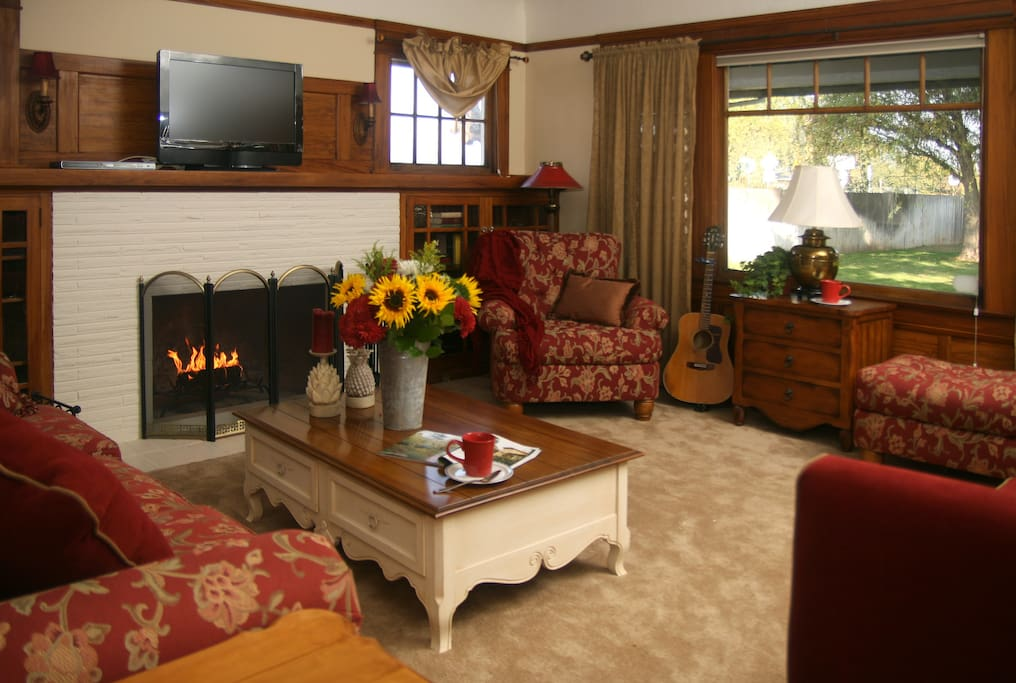 Cozy living room with fireplace, television and DVD