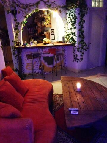 Salon, vue sur la cuisine ouverte et sa plante incroyable