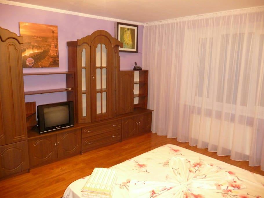 Спальня, кондиционер, картины, ТВ