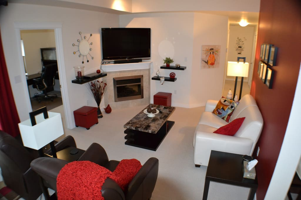 Comfortable living space with entertainment centre