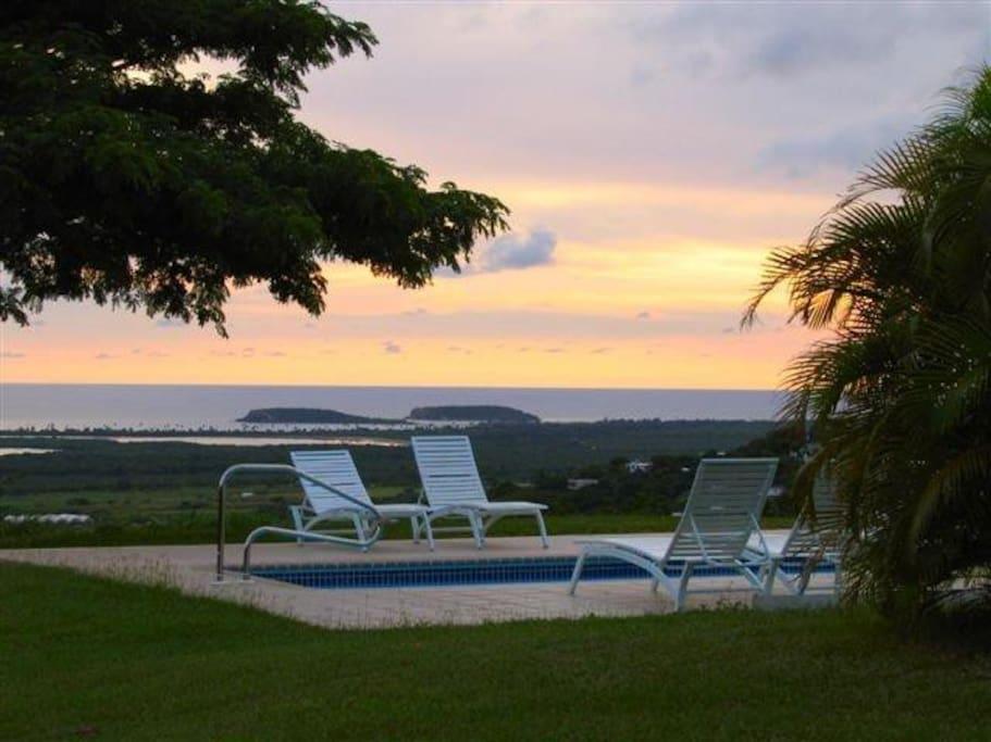 View to bio bay at sunset