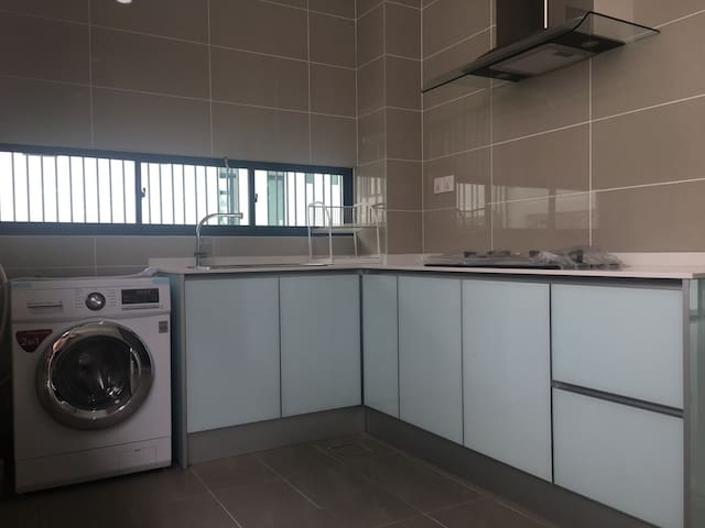Wet kitchen - with washer/dryer, cook stove and hood