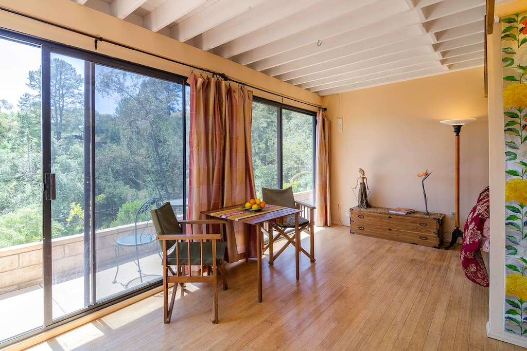 This serene Zen bedroom looks out onto the prestine nature of Malibu's secluded canyons.