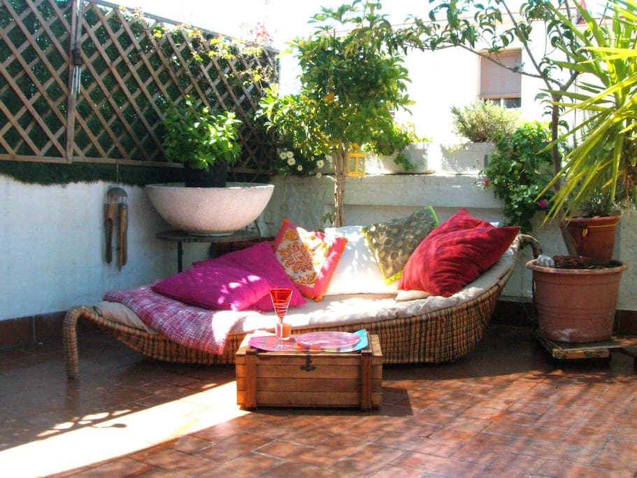 comfy couch for 2 on the terrace