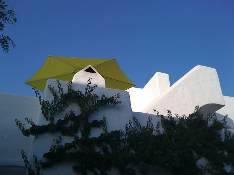 exterior of casa looking towards roof terrace