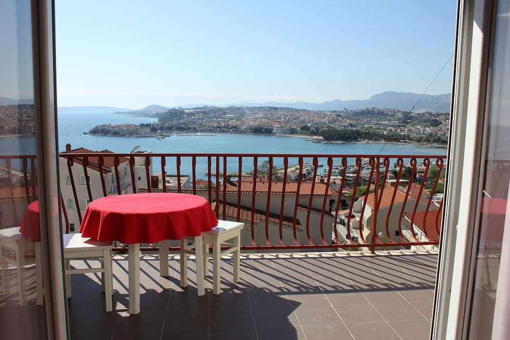 the beautiful big terrace with an amazing view