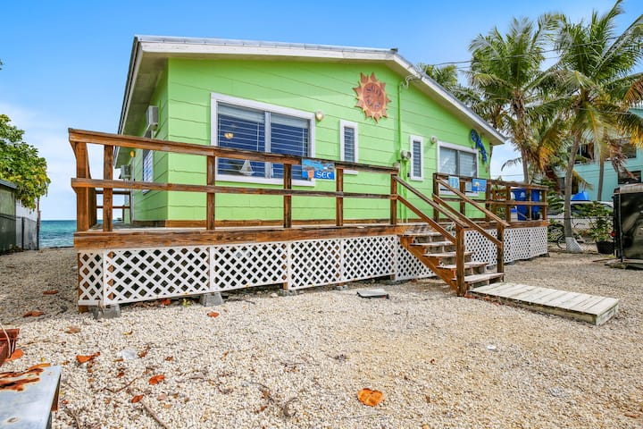 New listing! Oceanfront home with a dock & sunset views!