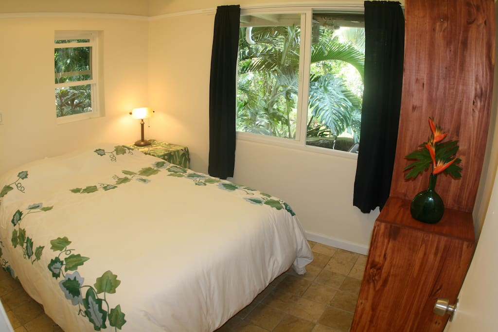 Queen sized bed with jungle right outside the windows!!