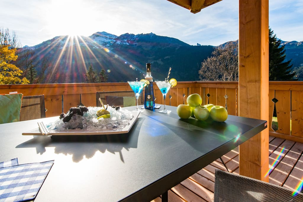 Spacious balcony with mountain views