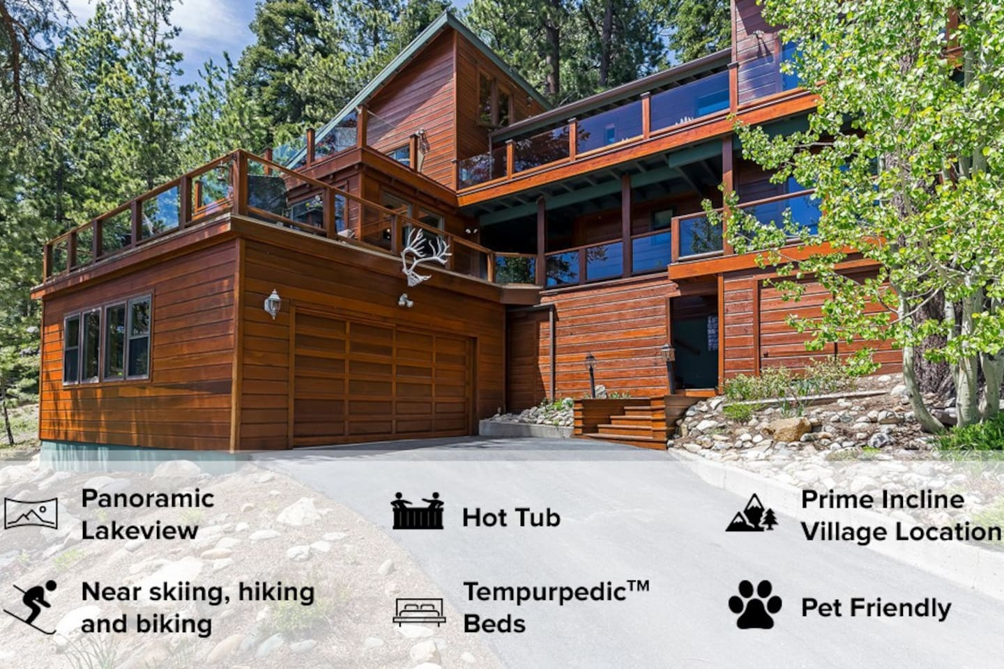 Enjoy a glass of wine while listening to the creek/nature on one of the many lake view decks. Easy access 2-car attached garage.
