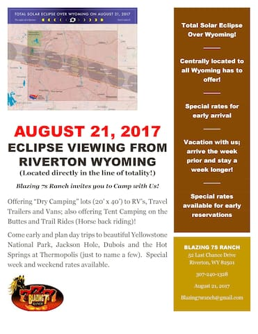 Eclipse Viewing; Blazing 7s Ranch - Dry Camping - Riverton - Annat