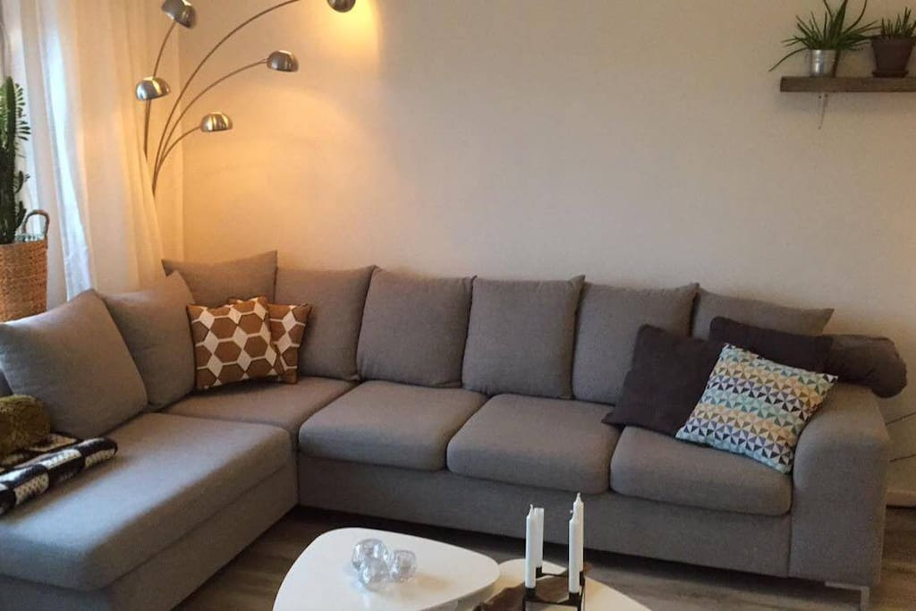 Vardagsrum, Stor soffa, utgång till balkong