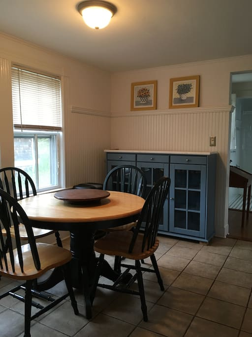 Eat in kitchen seats four. Gas stove, microwave, coffee maker, toaster, toaster oven.