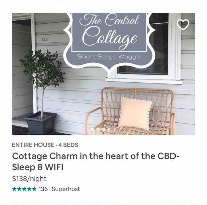 COTTAGE CHARM in the heart of the CBD Sleep 8 WIFI